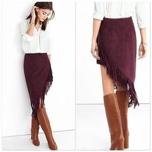 Express Burgundy Fringed Asymmetrical Pencil Skirt
